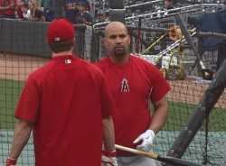 Albert Pujols batting practice video, Mike Trout batting practice video, David Freese signing autographs