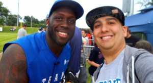 Stephen Tulloch with fan