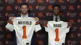 Baker Mayfield and Denzel Ward arriving in Cleveland