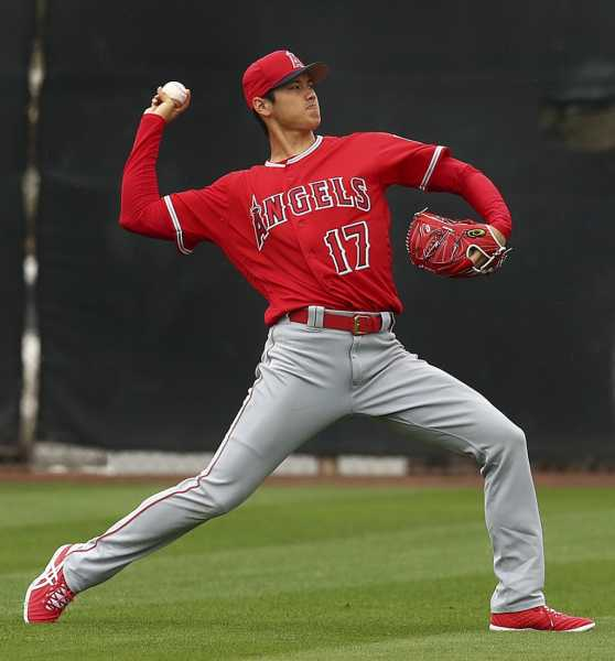 Shohei Ohtani pitching and hitting at Angels camp