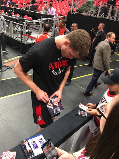 Portland Trail Blazers Center Meyers Leonard Signing Autographs