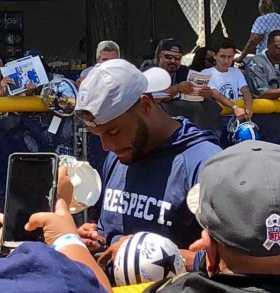 Dak Prescott Signing Autographs At Cowboys Training Camp