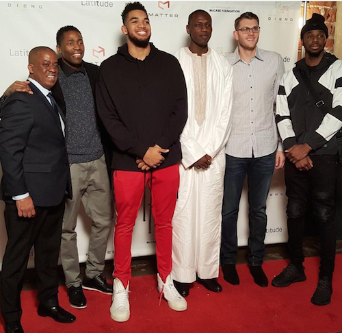Karl-Anthony Towns, Andrew Wiggins, Jamal Crawford, Cole Aldrich at Gorgui Dieng charity event