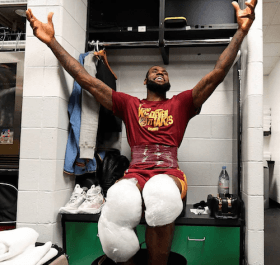 LeBron James locker-room photo
