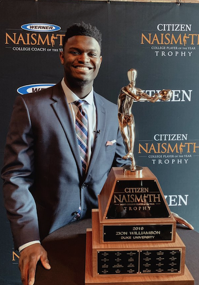 Duke Freshman Zion Williamson Wins Naismith Award At Final Four
