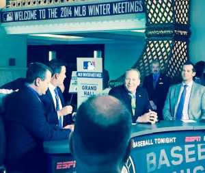 """ESPN's Baseball Tonight"" set, featuring Aaron Boone, Curt Schilling, Karl Ravech and Buster Olney"