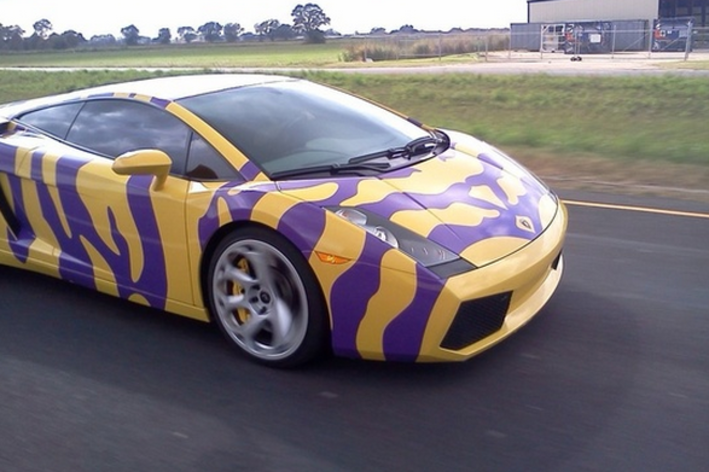Don Domingue LSU yellow and purple Lamborghini