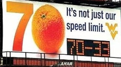 West Virginia billboard and Orange Bowl