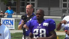 Adrian Peterson Signing Autographs at Vikings Training Camp