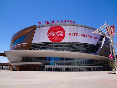 T-Mobile Arena Neon and Glass Exterior