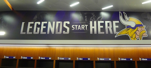 The Minnesota Vikings US Bank Stadium Home Locker Room