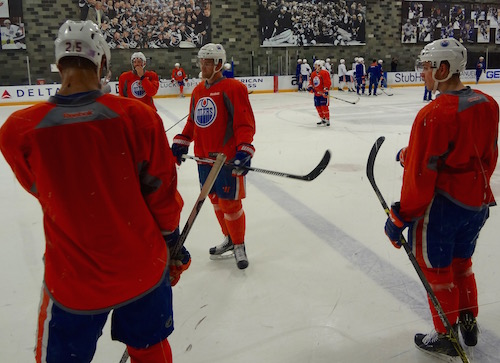 Edmonton Oilers Morning Skate At Toyota Sports Center