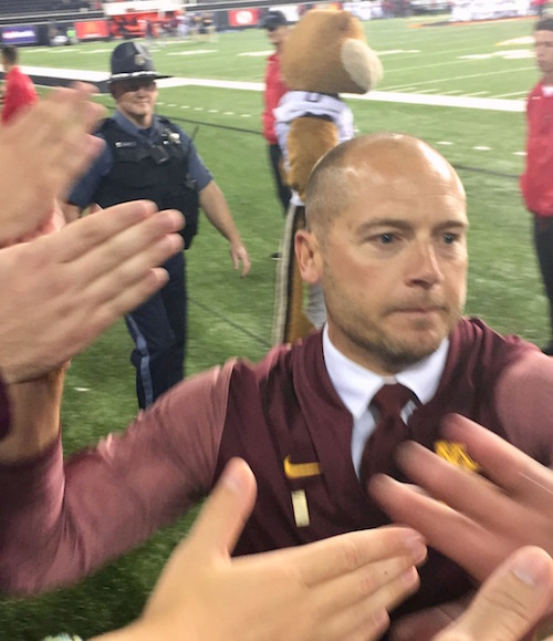 P.J. Fleck With Fans After Oregon State Win