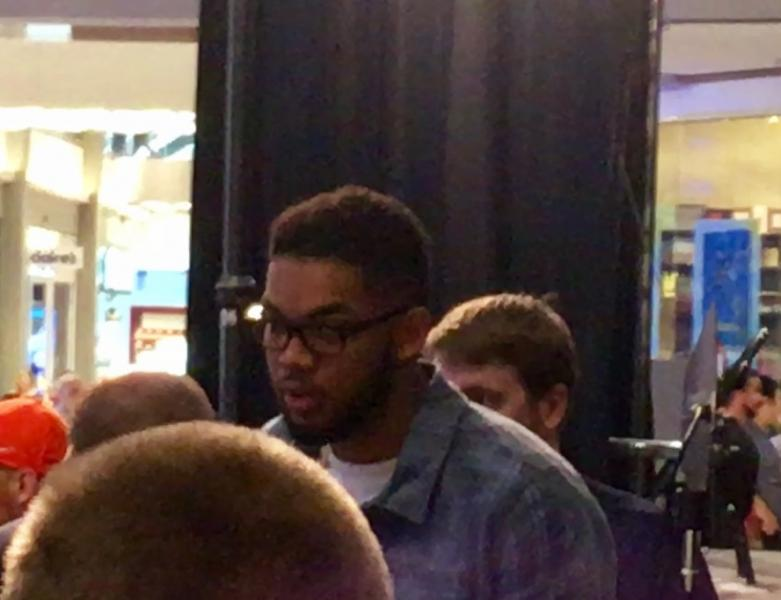 Karl-Anthony Towns at  Jimmy Butler's Timberwolves Mall Of America News Conference