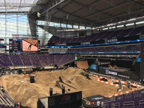 BMX and Moto X dirt courses X Games Minneapolis 2017