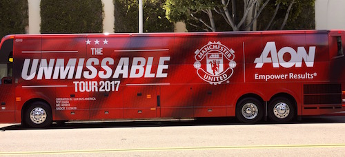 Manchester United bus in Beverly Hills