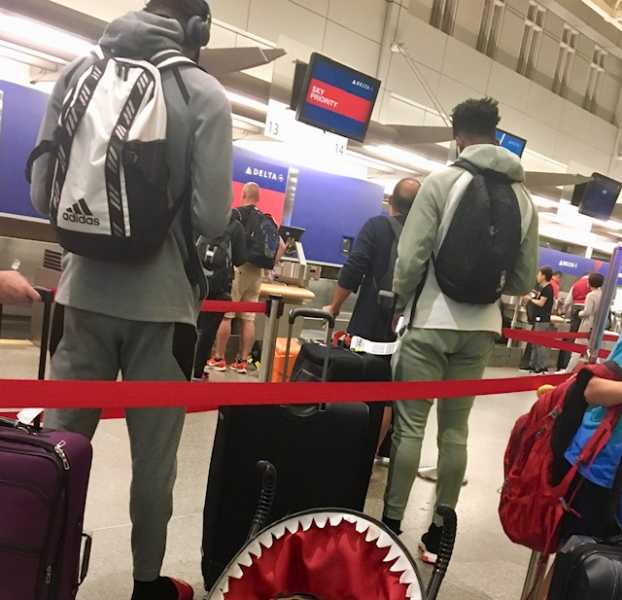 Jarrett Culver and Jaylen Nowell at Minneapolis-St. Paul International Airport