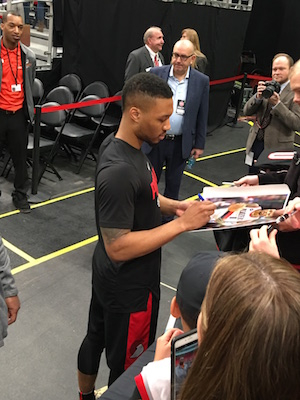 Damian Lillard Signing Autographs In Detroit