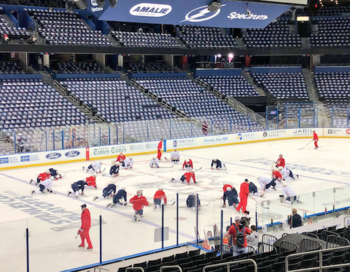 A Look At The Washington Capitals and Tampa Bay Lightning Prepping For Game 7